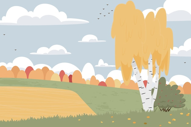 平らな秋の自然の風景イラスト。カラフルなベクトルフラット:自然、野原、木、ポスター、はがき、ウェブの丘