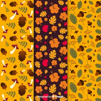 Flat autumn pattern collection with leaves