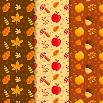 Flat autumn pattern collection