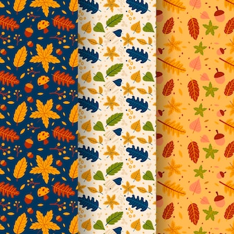 Flat autumn pattern collection