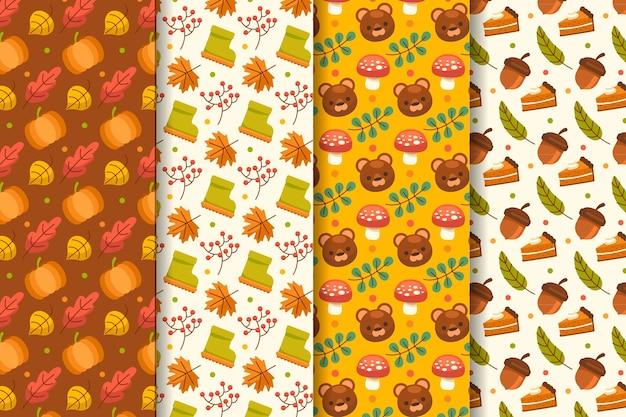 평평한 가을 패턴 컬렉션