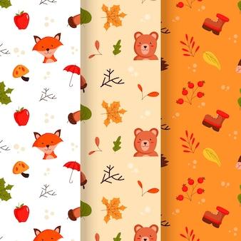 フラット秋のパターンコレクション