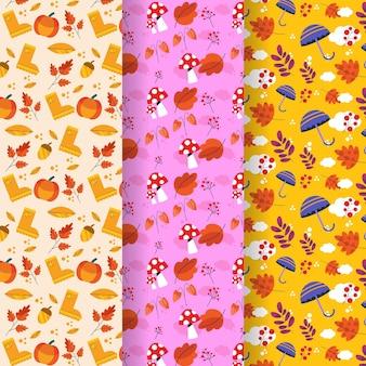 플랫 가을 패턴 컬렉션