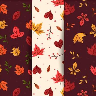Flat autumn patterns collection