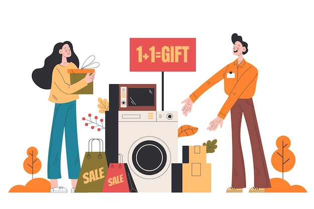 Flat autumn people sale with bags and gifts
