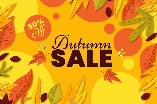 Flat autumn sale background