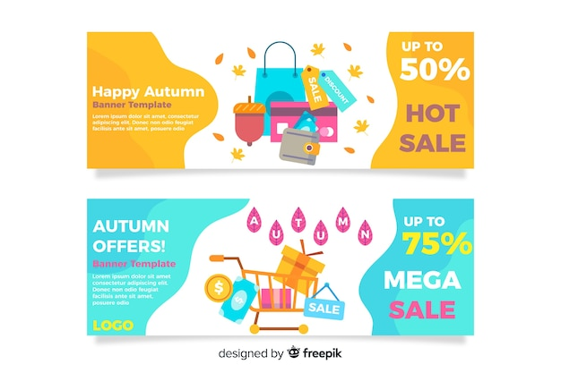 Flat autumn sale banner collection