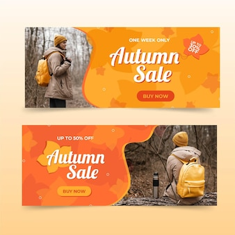 Flat autumn sale banners set with photo