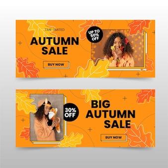Плоские осенние распродажи баннеры с фото
