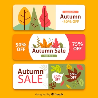 Flat autumn sale banners template