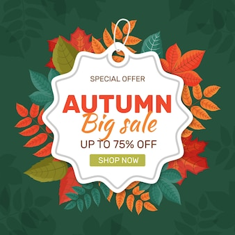 Flat autumn sale concept