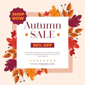 Flat autumn sale concept