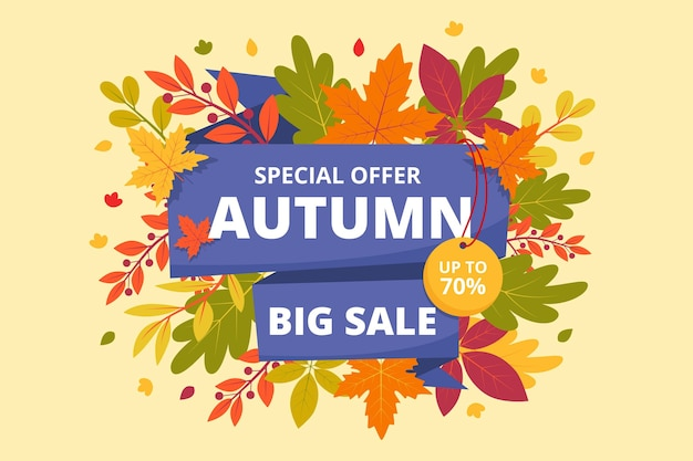 Flat autumn sale horizontal banner