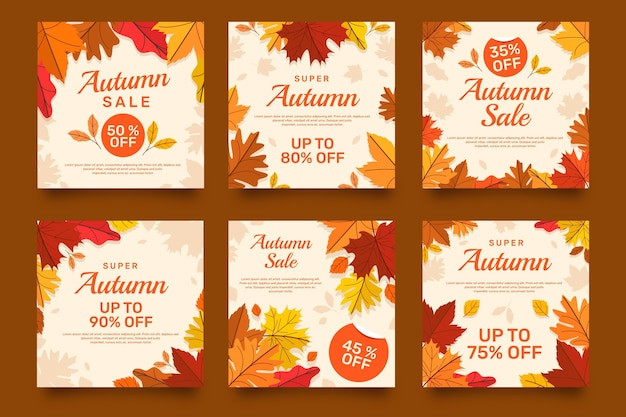 Flat  autumn sale instagram posts collection