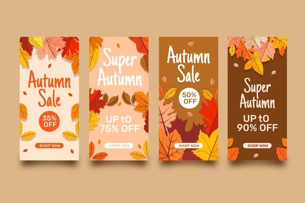 Flat autumn sale instagram stories collection