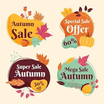 Flat autumn sale labels collection