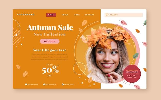 Modello di pagina di destinazione di vendita autunnale piatto con foto