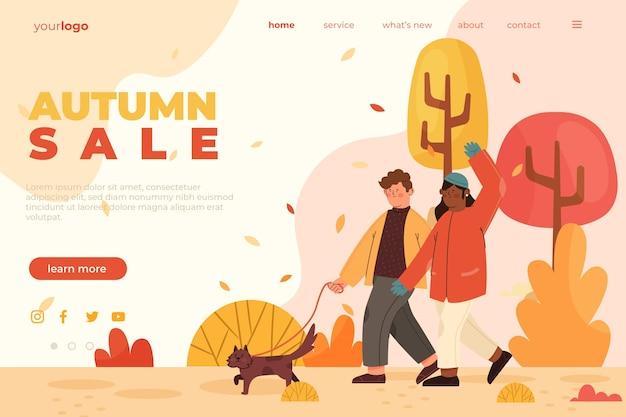 평평한 가을 판매 방문 페이지 템플릿
