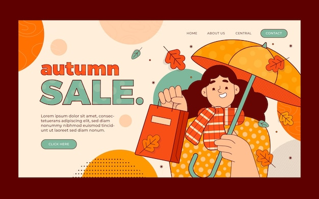 Modello di pagina di destinazione di vendita autunnale piatta