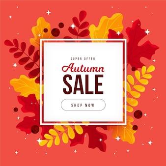 Flat autumn sale promotion illustration