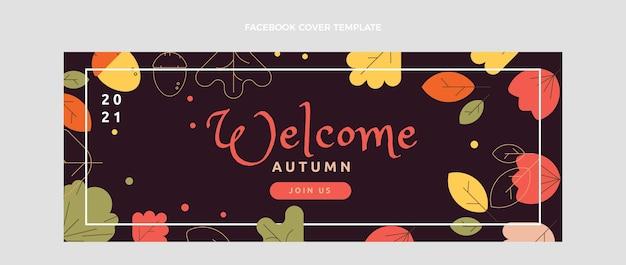 Flat autumn social media cover template