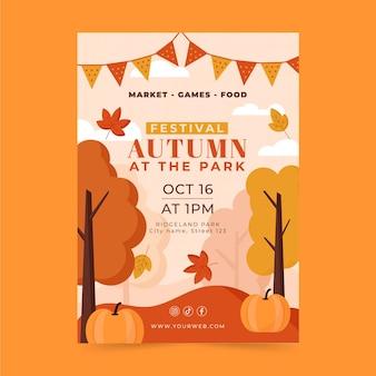 Flat autumn vertical flyer template