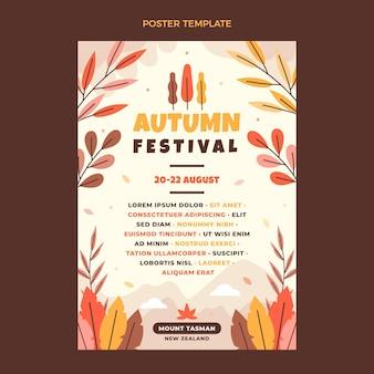 Flat autumn vertical poster template