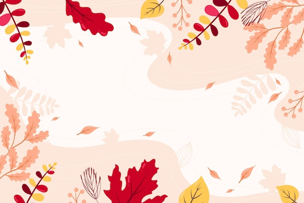 Flat autumn wallpaper with empty space