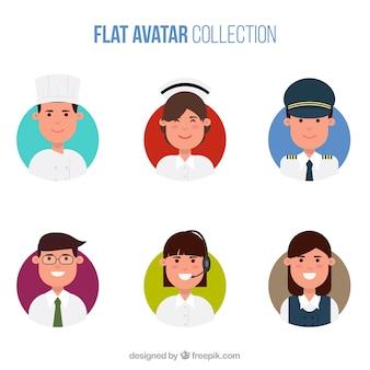 Коллекция плоского аватара с множеством профессий