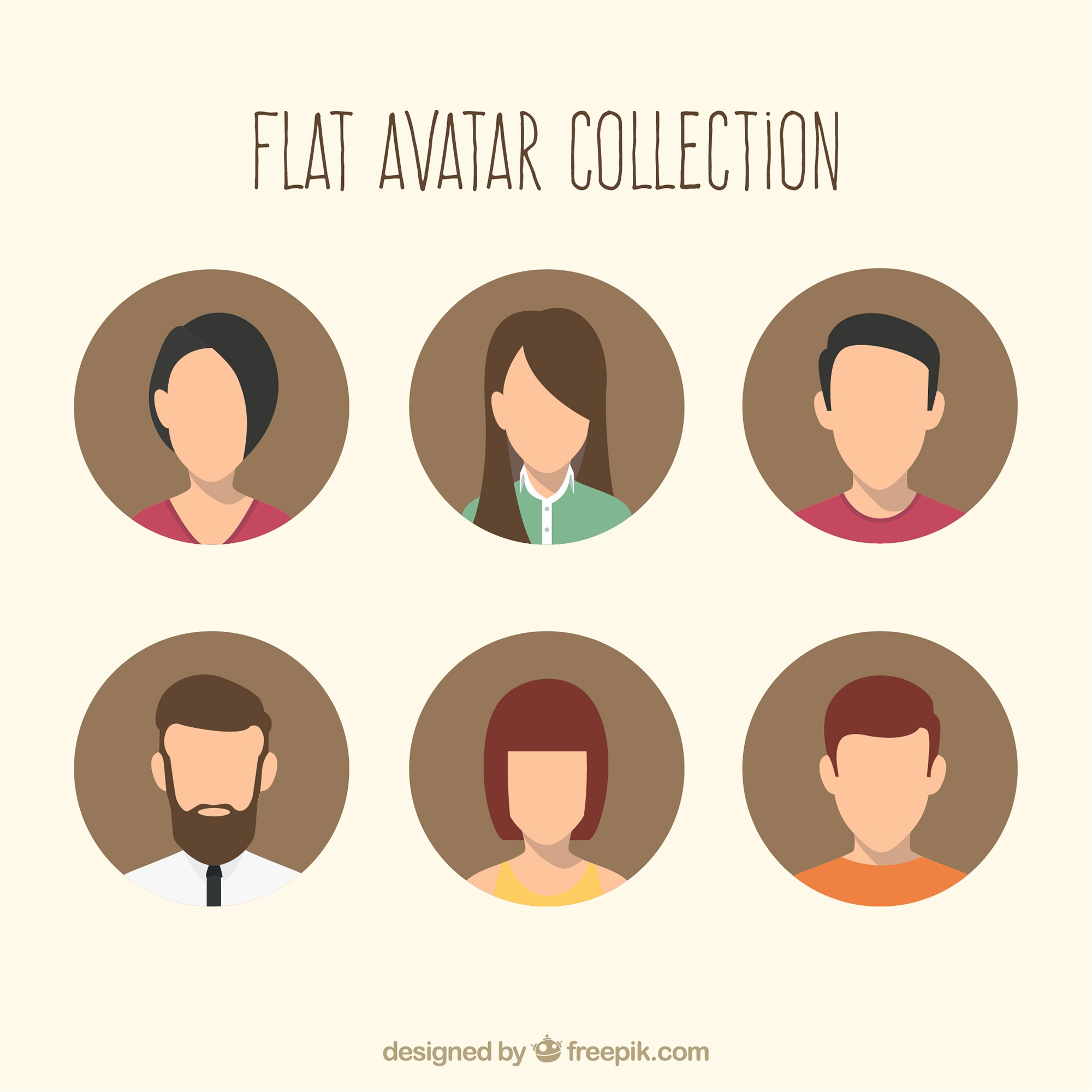 Flat avatars with modern style