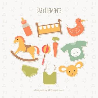 Elementi del bambino piatte