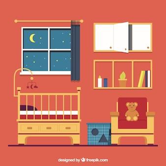 Плоский детская комната с коричневой мебелью