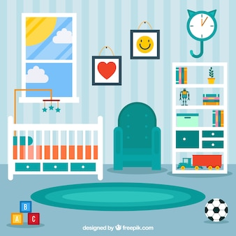 Плоский детская комната с полосатой стеной