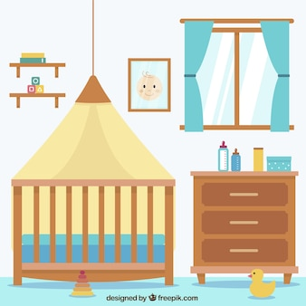 Flat baby room with window and brown furniture