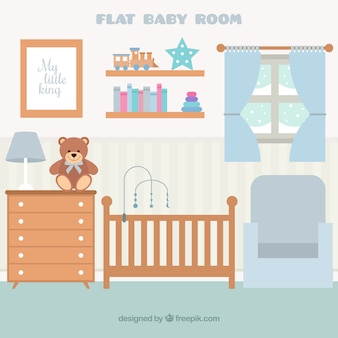 Flat baby room with wooden furniture and window