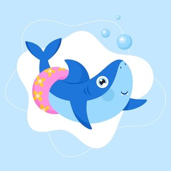 Flat baby shark in cartoon style