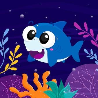 Flat baby shark in cartoon style