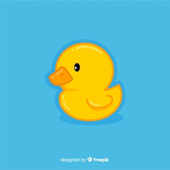 Flat baby yellow rubber duck