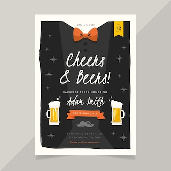 Flat bachelor party invitation template