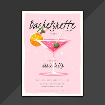Flat bachelorette party invitation