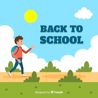 Flat back to school background