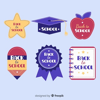 Flat back to school badge collection
