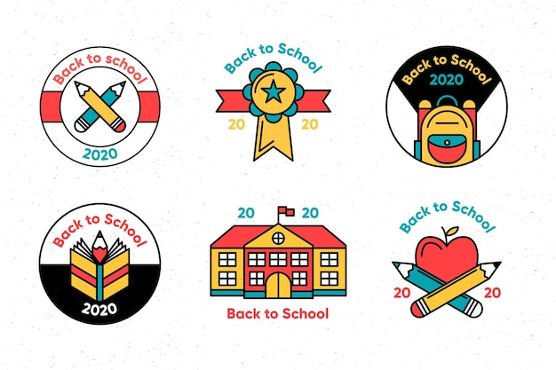 Flat back to school badges collection