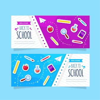 Flat back to school banners collection