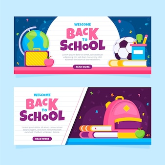 Flat back to school banners concept