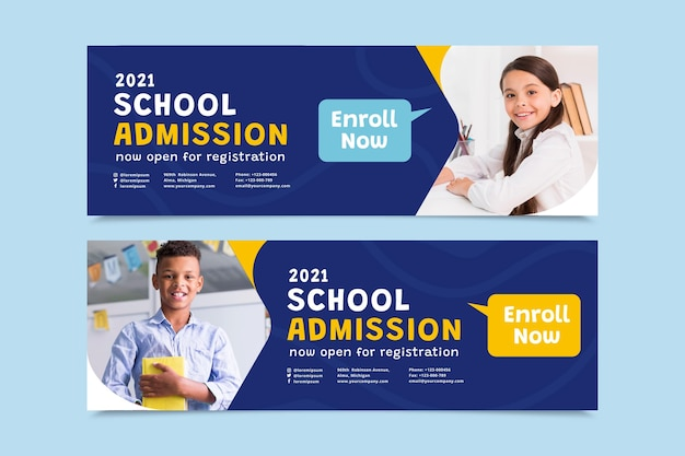 Flat back to school banners set with photo