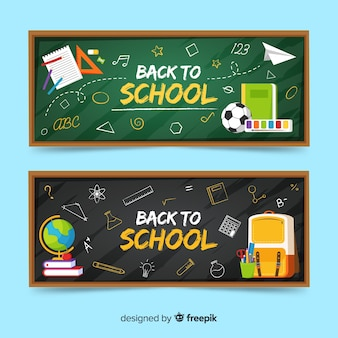 Flat back to school banners template