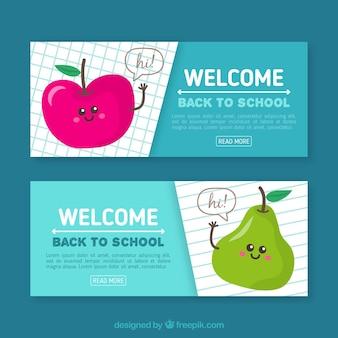 Bandiere piatte a scuola con divertenti mele e pera