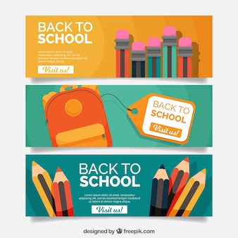 Flat back to school banners with pencils and backpack