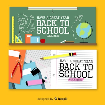 Flat back to school banners